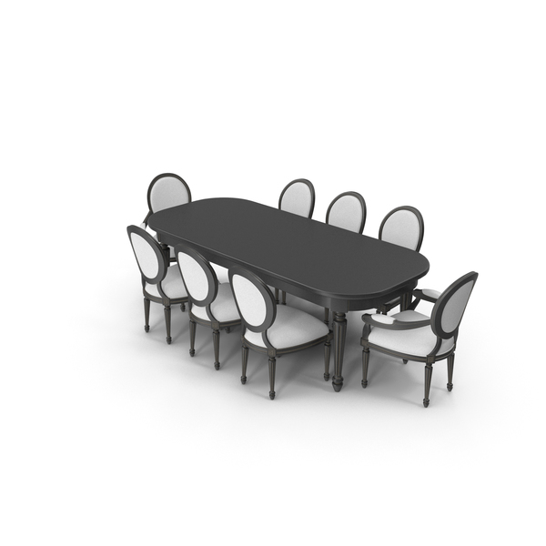Dining Table Set for 8 Persons PNG & PSD Images