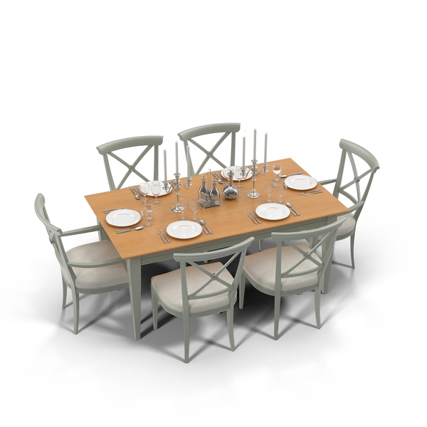 Chair: Dining Table With Place Setting Object