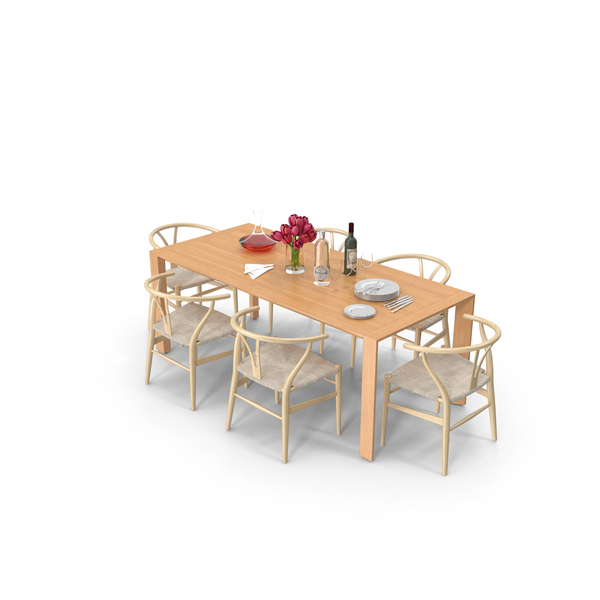 Dining Table with Tableware PNG & PSD Images