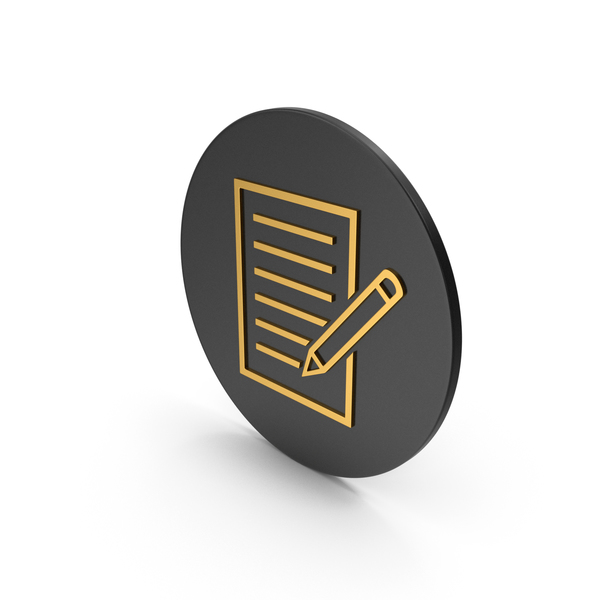 Industrial Equipment: Document With Pen Gold Icon PNG & PSD Images