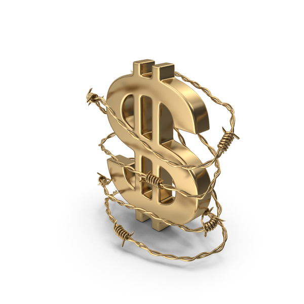 Currency Symbols: Dollar Gold in Barbed Wire Gold PNG & PSD Images