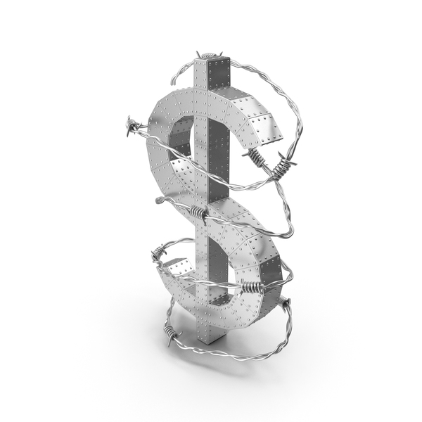 Dollar Metal with Rivets in Barbed Wire PNG & PSD Images
