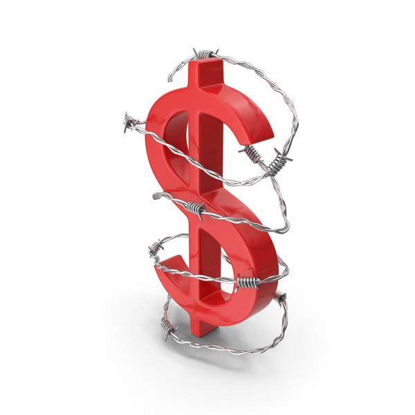 Dollar Symbol Red in Barbed Wire Steel PNG & PSD Images