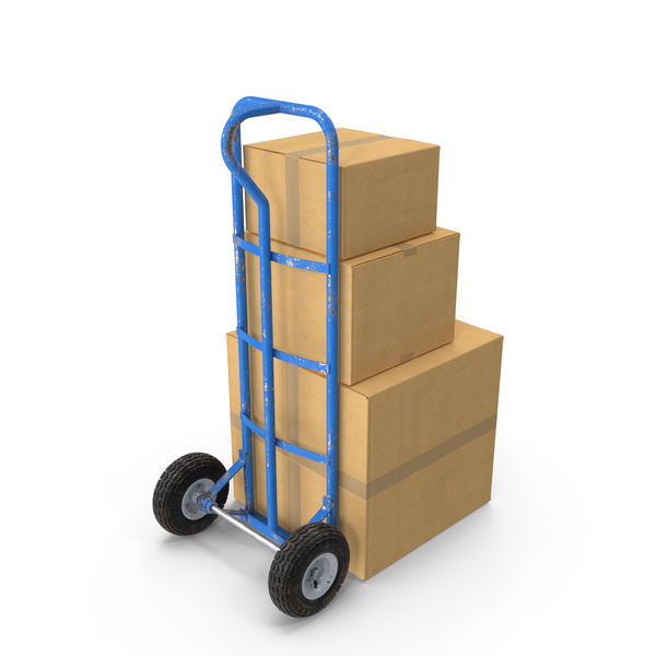 Hand Truck: Dolly Hand-Cart with Boxes PNG & PSD Images