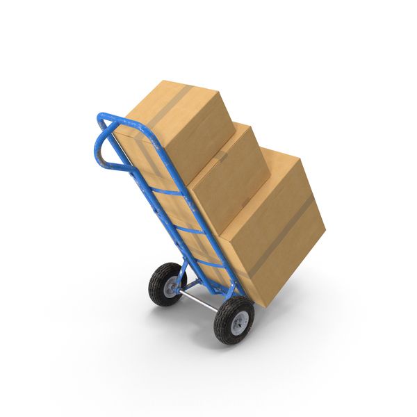 Hand Truck: Dolly Hand-Truck with Boxes PNG & PSD Images