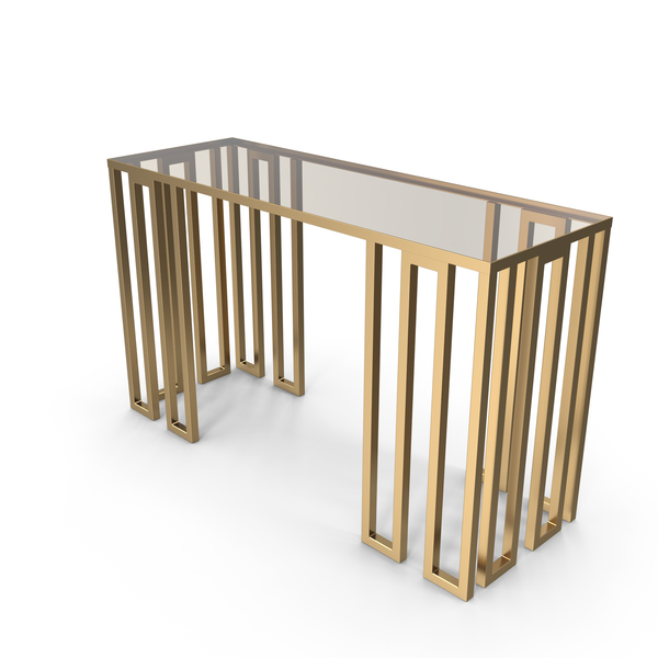 Donghia Paragon Modern Designer Golden Console Table PNG & PSD Images