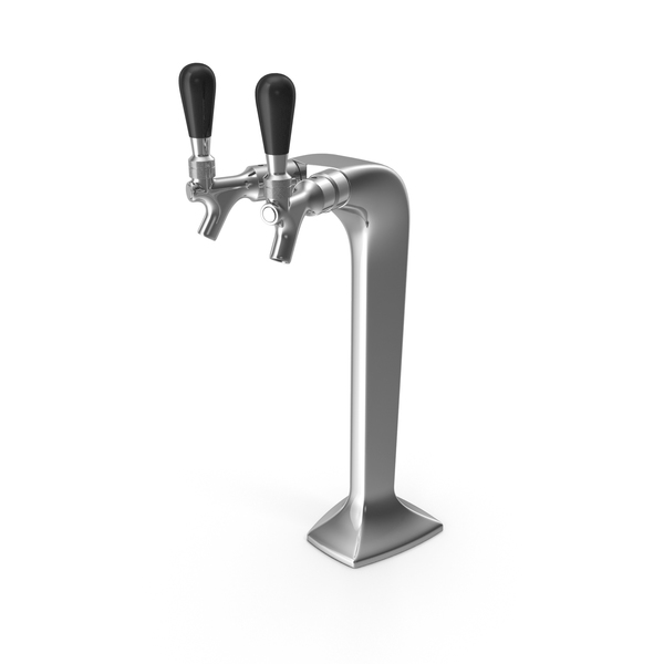 Double Tap Draft Beer Tower Stainless Steel PNG & PSD Images