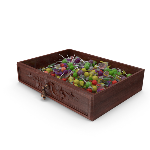 Drawer with Mixed Wrapped Hard Candy PNG & PSD Images