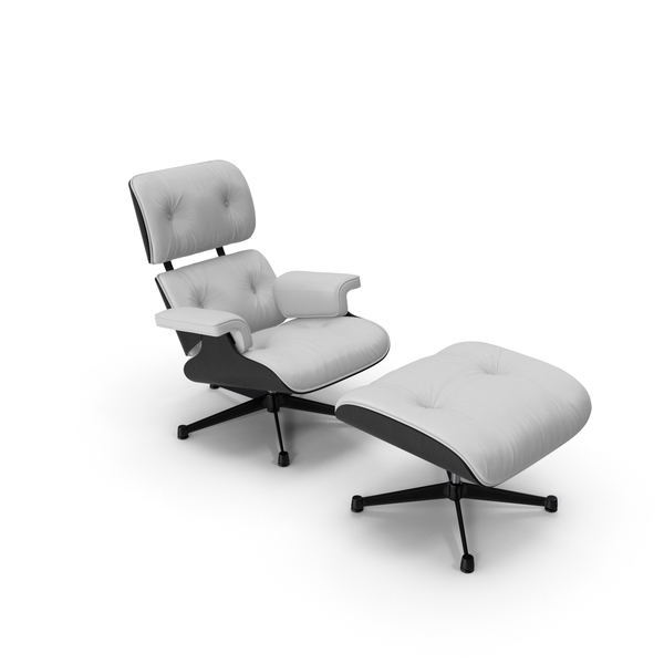 Eames Vitra Lounge Chair Black White PNG & PSD Images