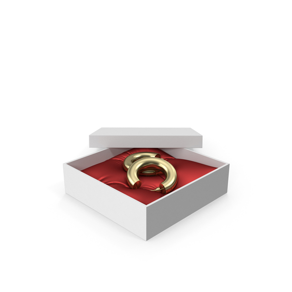 Earrings Gold Hoops in a Gift White Box with Red Pillow PNG & PSD Images