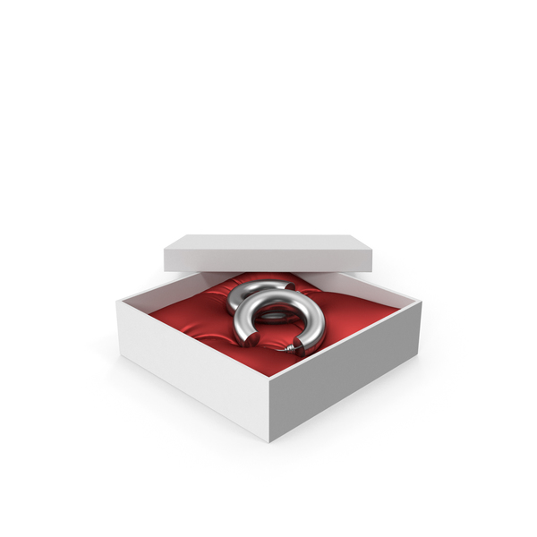 Earrings Silver Hoops in a Gift White Box with Red Pillow PNG & PSD Images