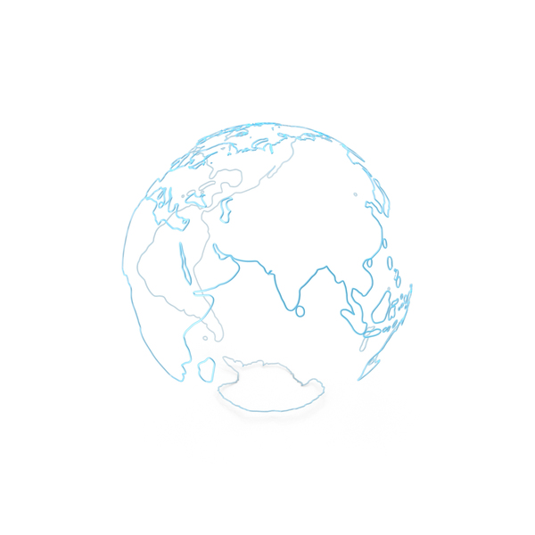 Earth Contours of Continents Made of Blue Glass PNG & PSD Images