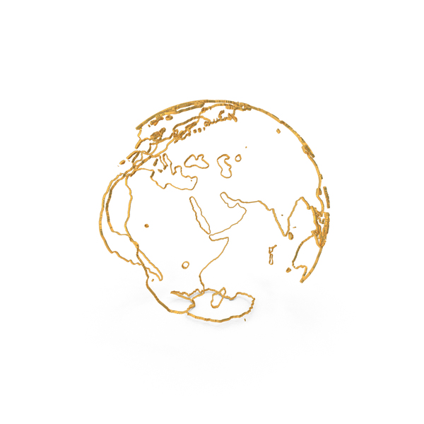 Earth Contours of Continents Made of Gold Wire PNG & PSD Images