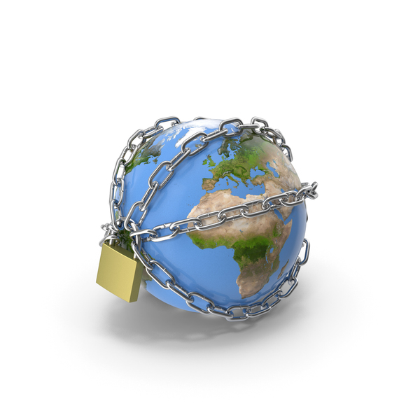 Earth Stylized with Chains PNG & PSD Images