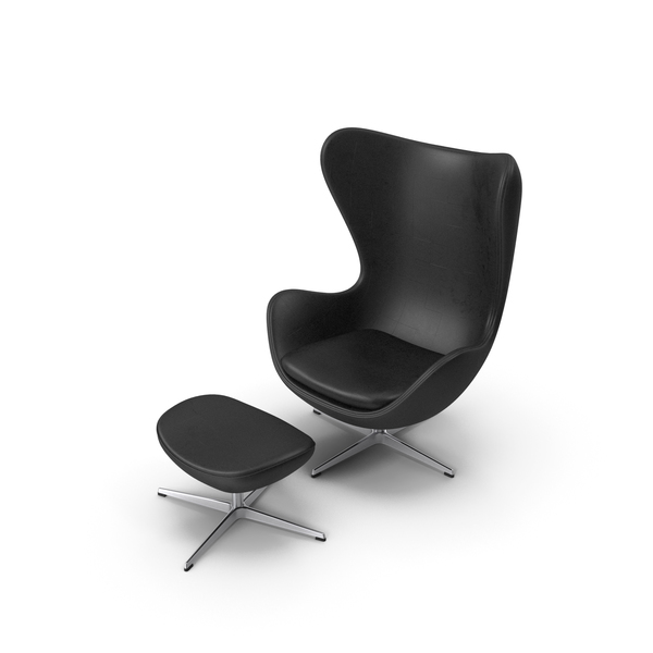 Egg Lounge Chair Black Leather PNG & PSD Images