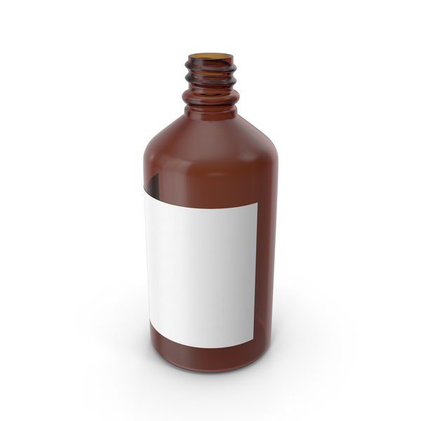 Glass: Empty Bottle With Blank Label PNG & PSD Images