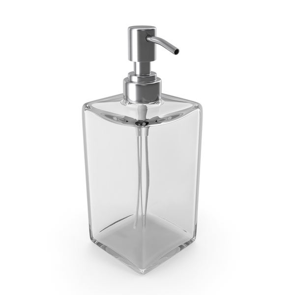 Liquid Soap: Empty Dispenser with Stainless Metal Pump PNG & PSD Images