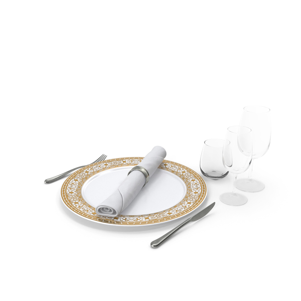 Place Setting: Empty Plate Glasses And Silverware Set PNG & PSD Images