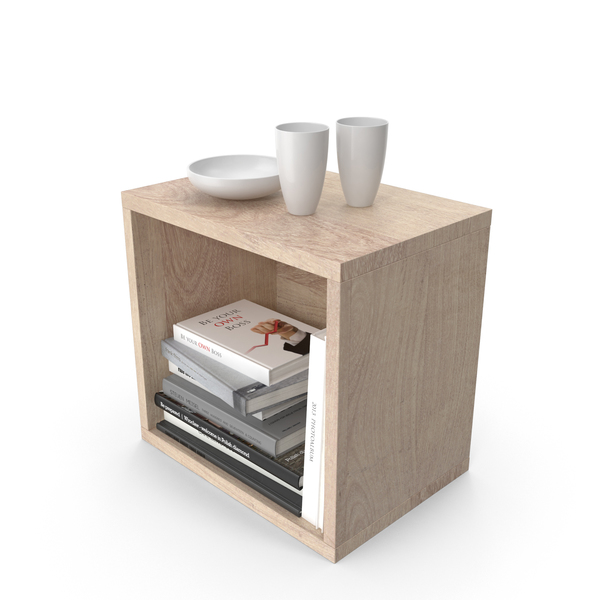 End Table with Books PNG & PSD Images