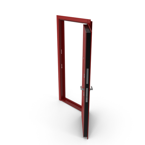 Interior: Entrance Door Red Open PNG & PSD Images