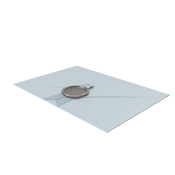 Envelope with Blue Ribbon and Wax Seal PNG & PSD Images