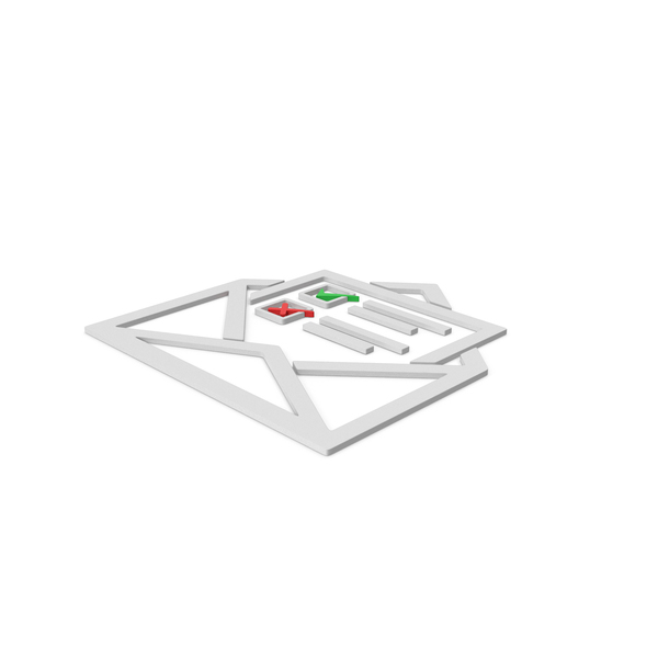 Computer Icon: Envelope With Checklist Symbol PNG & PSD Images