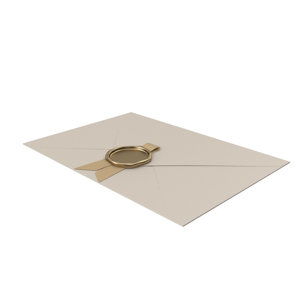 Envelope with Gold Ribbon and Wax Seal PNG & PSD Images