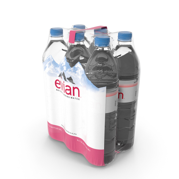 Evian Mineral Water 6 Bottle Pack PNG & PSD Images