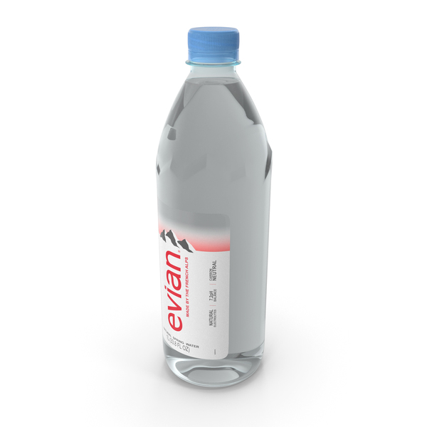 Evian Natural Mineral Water 1L Plastic Bottle PNG & PSD Images