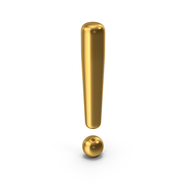 Computer Icon: Exclamation Mark Gold PNG & PSD Images