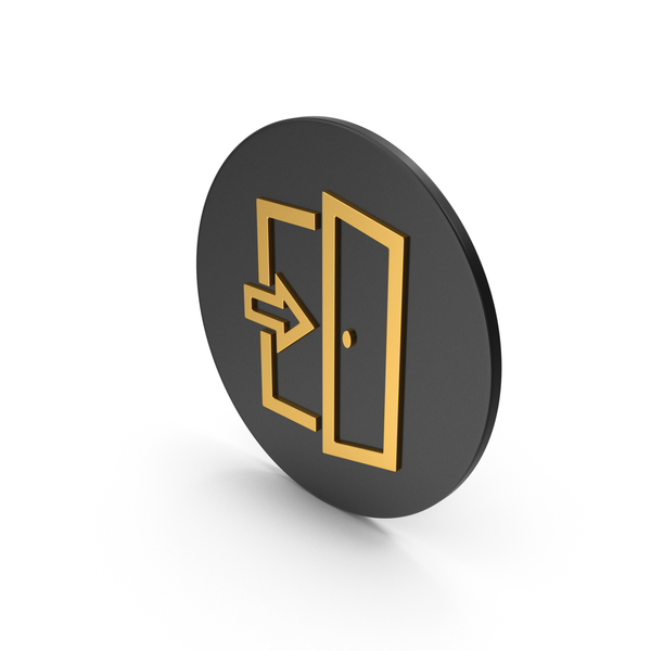 Sign: Exit Gold Icon PNG & PSD Images