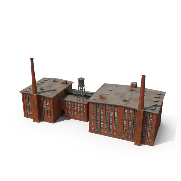 Factory with Smokestacks Object