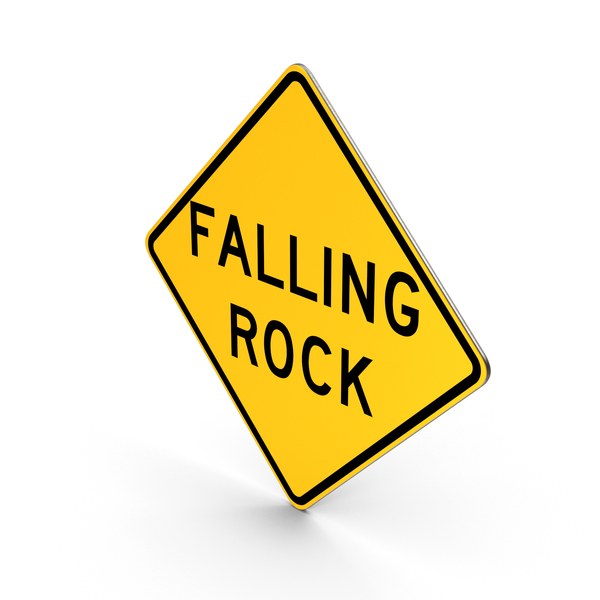 Traffic Signs: Falling Rock Colorado North Carolina Texas West Virginia Road Sign PNG & PSD Images