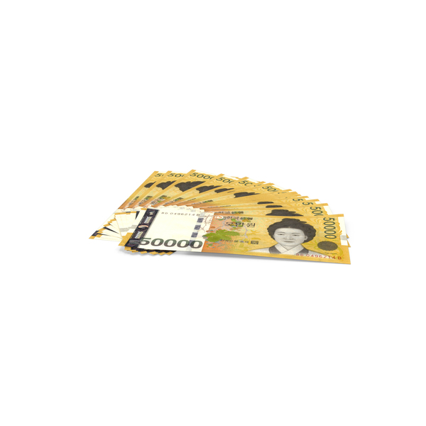 Banknote: Fan of South Korean 50000 Won Banknotes PNG & PSD Images