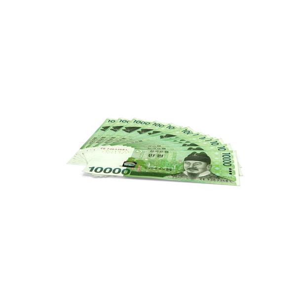 Banknote: Fan Shaped Korea Republic 10000 Won Banknotes PNG & PSD Images
