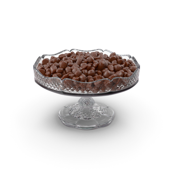Fancy Crystal Bowl with Almond Chocolate Candy PNG & PSD Images