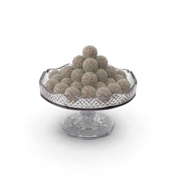 Fancy Crystal Bowl with Chocolate Balls with Coconut PNG & PSD Images