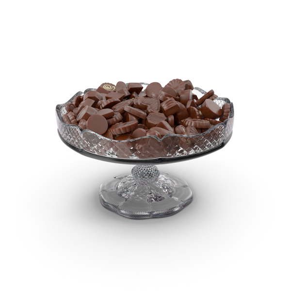 Fancy Crystal Bowl with Chocolate Truffles PNG & PSD Images