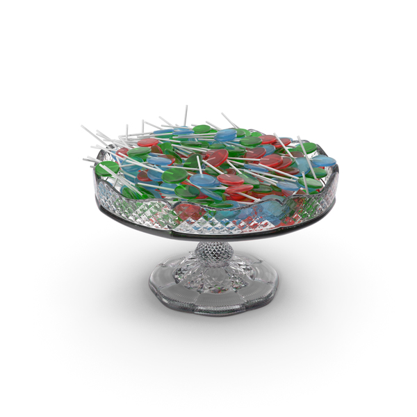 Candy: Fancy Crystal Bowl with Flat Lollipops PNG & PSD Images