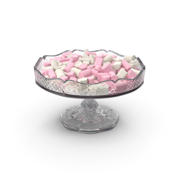 Fancy Crystal Bowl With Marshmallows PNG & PSD Images