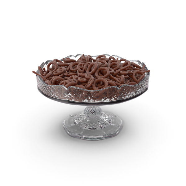 Fancy Crystal Bowl with Mixed Chocolate Covered Pretzels PNG & PSD Images