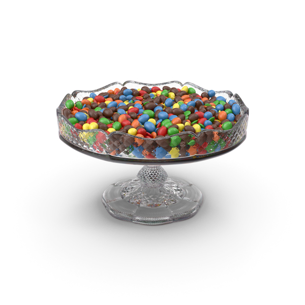 Candy: Fancy Crystal Bowl With Mixed M&M's PNG & PSD Images