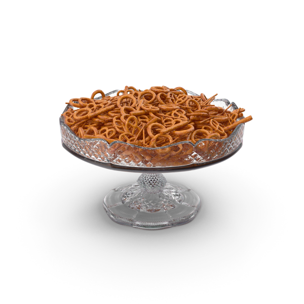 Fancy Crystal Bowl with Mixed Pretzel Snacks PNG & PSD Images