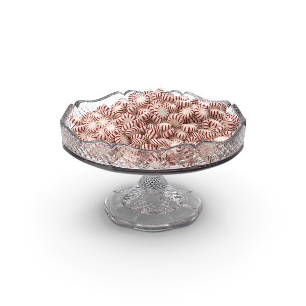 Fancy Crystal Bowl with Peppermint Starlight Candy PNG & PSD Images