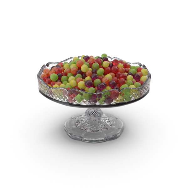 Fancy Crystal Bowl With Spherical Hard Candy PNG & PSD Images