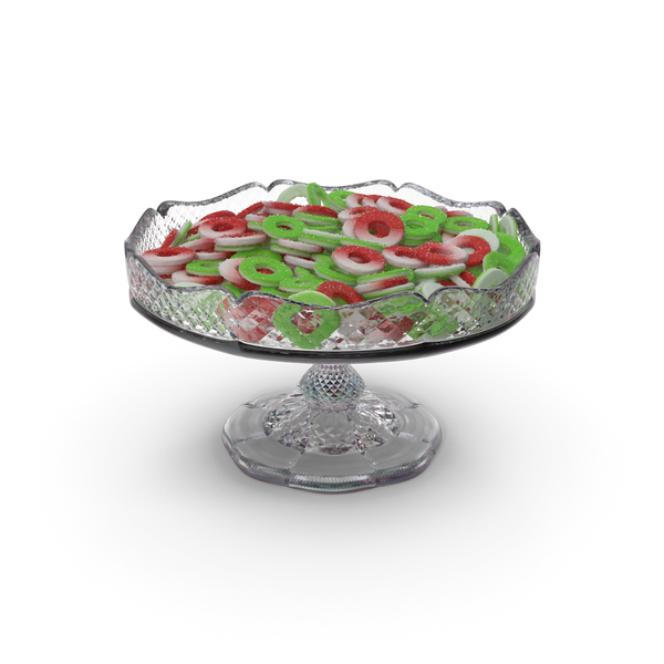 Fancy Crystal Bowl with Sugar Coated Gummy Rings PNG & PSD Images