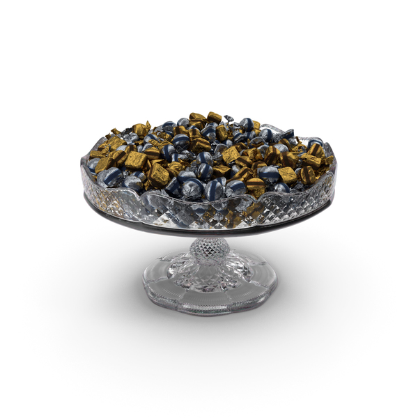 Fancy Crystal Bowl with Wrapped Chocolate Bonbons PNG & PSD Images