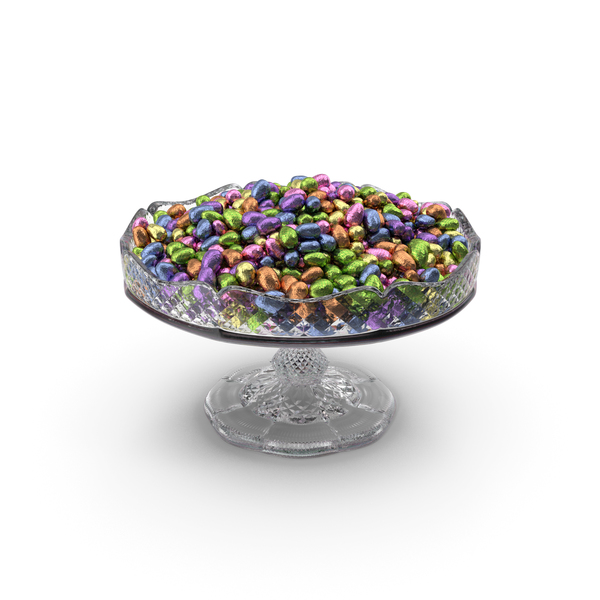 Candy: Fancy Crystal Bowl with Wrapped Chocolate Easter Eggs PNG & PSD Images