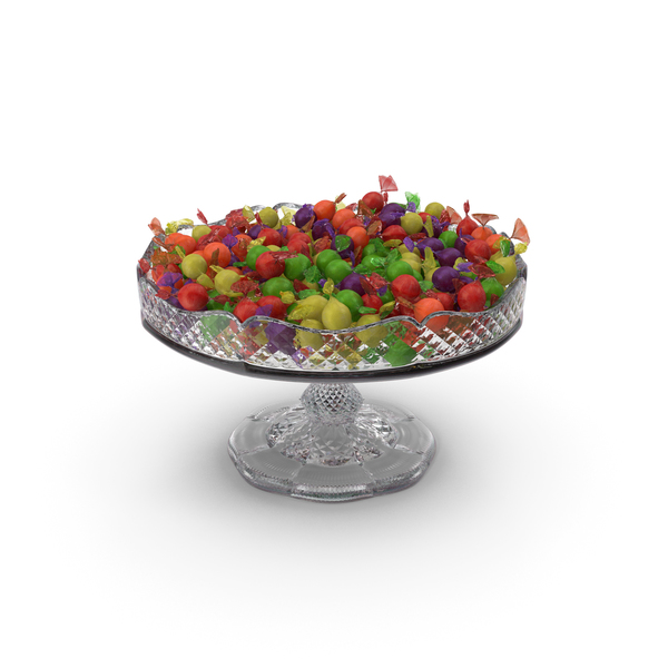 Fancy crystal bowl with wrapped spherical hard candy PNG & PSD Images
