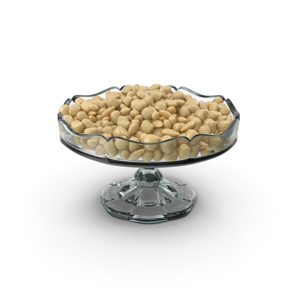 Fancy Glass Bowl with Almond White Chocolate Candy PNG & PSD Images